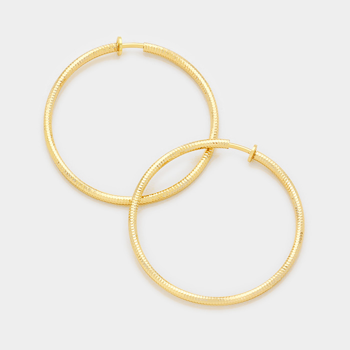 Textured ClipOn Gold Hoops