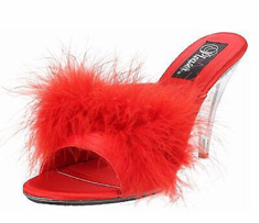 Fabulicious Pleaser Red Feather Heels