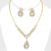 Teardrop Crystal Rhinestone Necklace