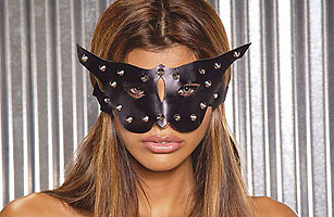 Leather Cat Mask w/ Stud Detail